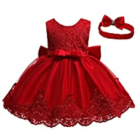 Muium Baby Girls Bowknot Lace Dress Tulle Tutu Princess Dress Formal Wedding Bridesmaid Party Dress Baby Baptism Gown + Headband 0-24 Months (3-6 Months, Red)