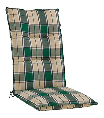 Sesselauflage Sitzpolster Gartenstuhlauflage für Hochlehner FAE 1 | 48x120 cm | Beige-Grün - Classic Hochlehner Sessel