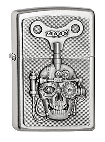 Zippo 'mecánicamente calavera clave' acabado satinado emblema encendedor