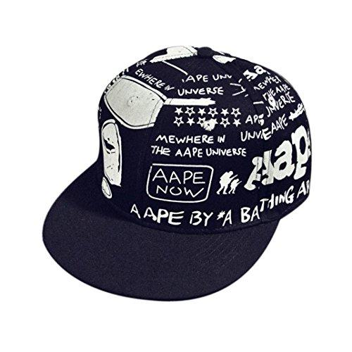 Casquette,Fulltime Unisexe Broderie Snapback Hip Hop Hat Casquette de baseball réglable Noir3