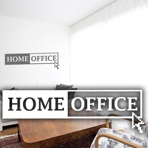 """Wandkings Wandtattoo """"Home Office mit Mauszeiger"""" 50 x 15 cm mittelgrau - erhältlich in 33 Farben"""