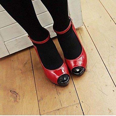 Moda Donna Sandali Sexy donna tacchi Comfort estivo abito scamosciato Stiletto Heel Tacco di Cristallo Nero / Rosso Altri Red