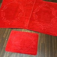 Non Slip Gel Backing Washable Romany Travellers Set Plain Design in Red