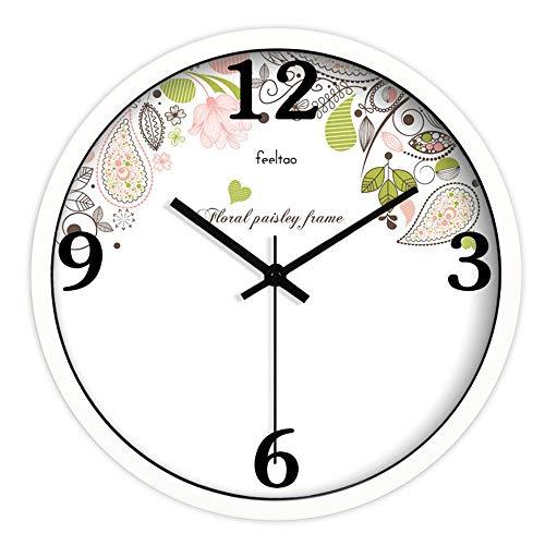 HomeClock Frische und Elegante Gartenuhr modern still Uhr Schwarze Rahmenquarzuhr auf Weiß 12 Zoll weißer Rahmen