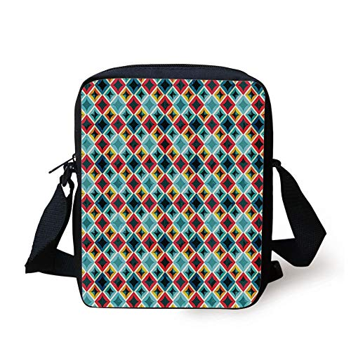 LULABE Geometric,Grunge Colorful Mosaic Diagonal Artsy Squares Frame with Crystal Effects Image Decorative,Multicolor Print Kids Crossbody Messenger Bag Purse