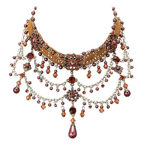 Stoff, mit brauner Perle. ()