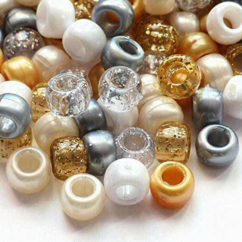 100-x-gold-angel-pony-bead-mix-9mm-x-6mm