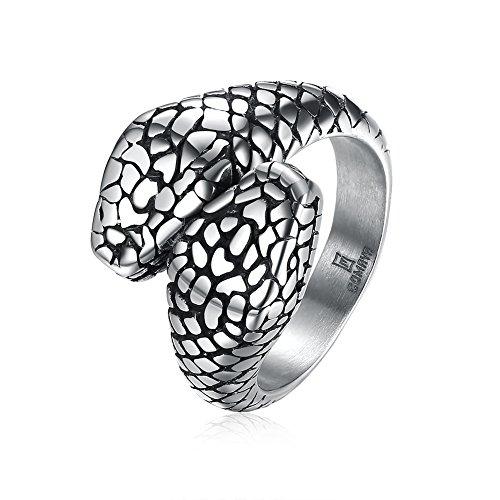 YAZILIND Vintage joyería serpiente forma aceite anillo de goteo de acero de titanio para hombres tamaño 16,5