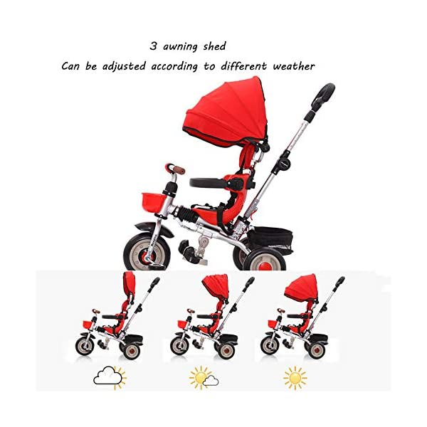 Childrens Tricycles 12 Months To 6 Years Compact Childrens Folding Tricycle Detachable And Adjustable Push Handle Folding Sun Canopy Blockable Rear Wheels Kids Tricycle Maximum Weight 25 Kg,Green BGHKFF ★Material: Aluminum frame, suitable for children from 1 to 6 years old, maximum weight 25 kg ★Safety design: 3-point seat belt + guardrail, front wheel clutch, safer on the way, rear wheel brake, lock rear wheel ★ Scientific design features: adjustable foot pedals, rear storage baskets, safety seats, detachable and adjustable parental handlebars, folding and detachable covers to protect children from UV damage 3