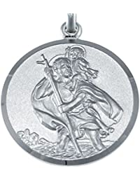 "Large Mens Heavy Sterling Silver St Christopher Pendant Necklace with 20"" Chain and Jewellery Gift Box"