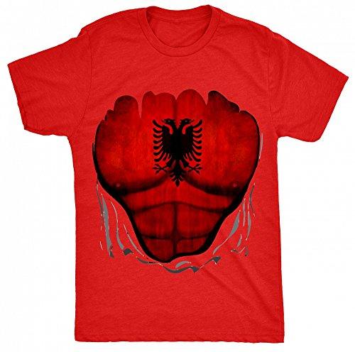 8TN Albania Flag Muscle Rip Herren T Shirt - Rot - Small (You Tube Rip)