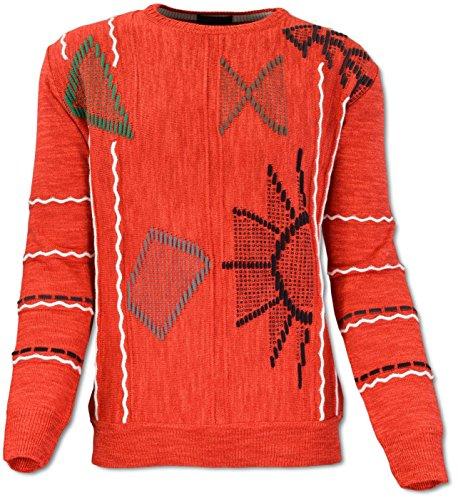 Carlo Colucci Intarsien-Pullover aus Baumwoll-Mix, Rundhals-Ausschnitt Rot