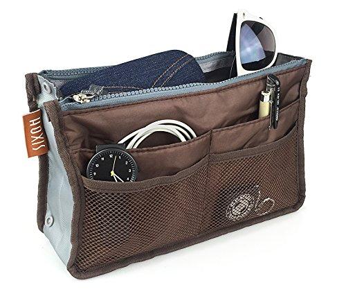 Hoxis Nylon Purse Organizzata 13 tasche Comestic Gadget-Organizzatore espandibile, con manici 26,92 cm X (10,6 16,00 (6,3 Bag in Bag cm, Marrone (Caffè/marrone)