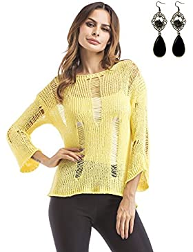 Sitengle Mujeres Cuello Redondo Hueco Casual Sweater Loose Fit Pullover Tops Shirt Túnica Blusas