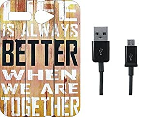 BKDT Marketing Printed Soft Back Cover Combo for Micromax Bolt Q381 With Charging Cable