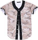 Pizoff Männer-T-Shirt mit Knopf Rundhalsausschnitt Kurze Ärmel Stil Hip-Hop Baseball Praxis Shirt lässig Tops Camouflage Tarnung Y1724-33-M
