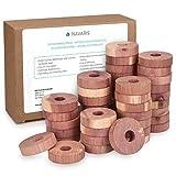 Navaris Anelli Antitarme in Legno - Antitarme Set x45 Dischi Cedro Anti Tarme Armadi - Profumo Repellente Naturale Contro Insetti per Abiti Profumati