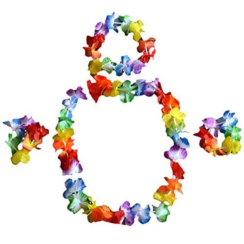 Hula Hawaiian Luau Grass Stirnband Garland und Armband fuer Tanzenr (Hawaiian Luau Kostüme)