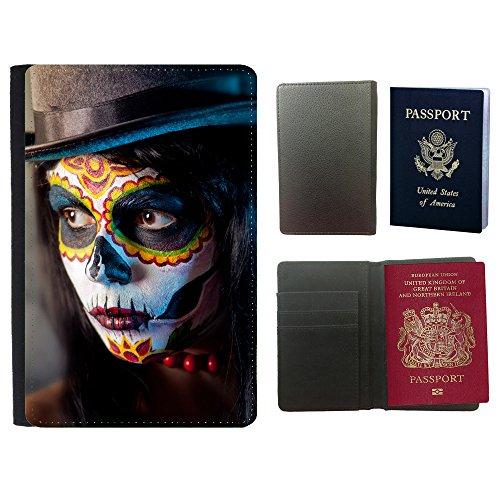 (PU Pass Passetui Halter Hülle Schutz // V00001715 Zucker Schädel Mädchen in tophat // Universal passport leather cover)