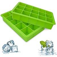 bedee Cubitera Hielo,2pcs Moldes para Cubitos de Hielo,Molde Silicona Sin BPA, para Congelarse Alimentos para Bebés, Cola,Cócteles Cola Whisky (Verde)