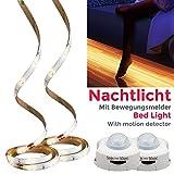 B.K.Licht LED Bett-Licht Bewegungssensor LED Baby-Beleuchtung 2 x 1,2 m LED Stripe Lichtleiste Dämmerungssensor LED Nachtlicht Band Streifen