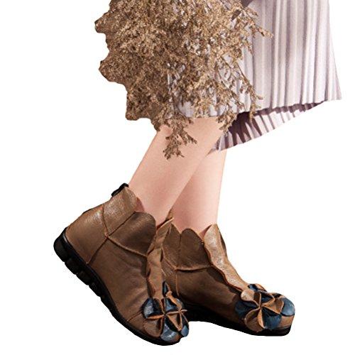 Vogstyle Femme Handmade Bottes avec Fleur Ethnique en Cuir style-1 Camel