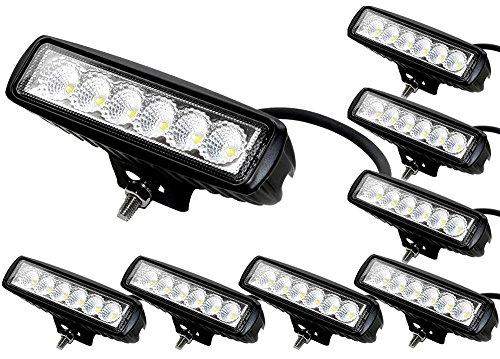 ALPHA DIMA 8X 18W Phare de Travail LED Lampe Work Light IP67 Phare Véhicule Tout-Terrain 12V 24V Lumière LED pour Voiture SUV ATV Tracteur Camion 4x4
