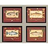 Classic Lakehouse señales de pesca trucha, salmón, Bass Set, Black Framed Prints