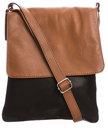Big Handbag Shop - Borsa a tracolla donna (Black - Tan Trim (KL219))