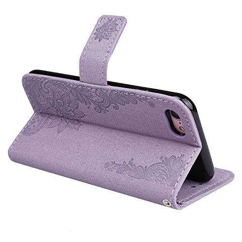 EKINHUI Case Cover Glitzer funkelt Blumen-Prägeart PU-lederner Fall-Mappen-Beutel-Kasten mit weicher TPU rückseitige Abdeckung u. Lanyard u. Kickstand für iPhone 7 ( Color : Red ) Purple