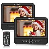 FANGOR Reproductor de DVD Portátil con 2 Pantallas 7.5' para Reposacabeza de Coche Soporta Tarjeta SD/USB con...