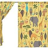 jstel 2Pcs Voile Fenster Vorhang, Afrika Vintage Original Tribal Tier, Tüll Sheer Vorhang Tuch Querbehang 139,7x 198,1cm Zwei scheibenelementen Set, Polyester, blau, 55x84x2(in)