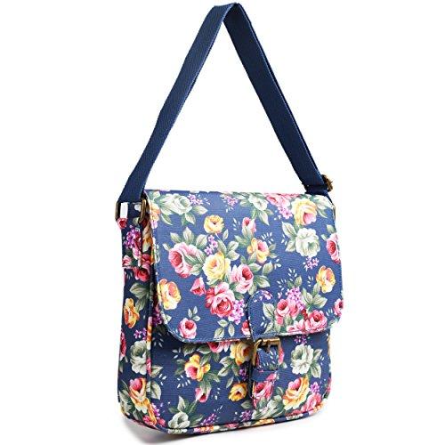 En Toile Cirée Miss Lulu Floral Mat texturé carré sac bandoulière sacoche Bleu