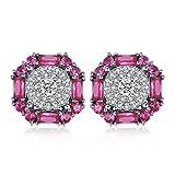 JewelryPalace Pendientes femenino con creado Rubí en plata de...