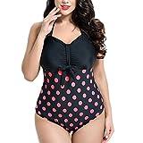 Missyhot Damen Retro Bademode Polka Dots Einteilig Vintage Schwimmenanzug mit Punkten Monokini Bikini Neckholder Badeanzug