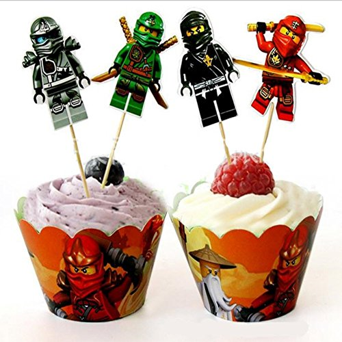 12 x Lego Ninja Kids Party Birthday Kuchen Cupcake Wrapper und Topper