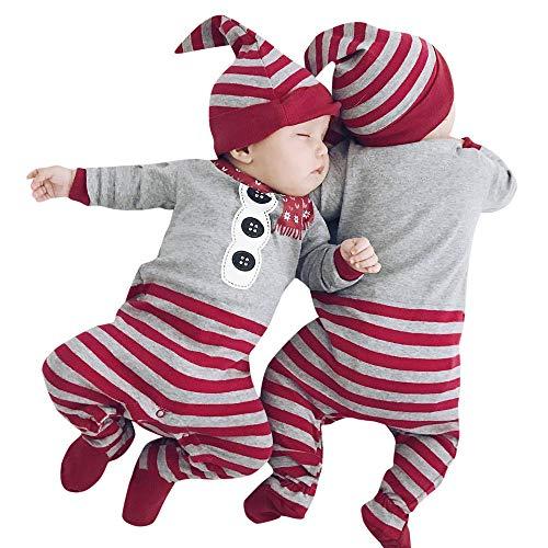 Riou Weihnachten Set Baby Kleidung Set Pullover Pyjama Outfits Set Familie Weihnachten Neugeborenes Baby Mädchen Jungen Strampler Overall + Hut 2 Stücke Set Outfit Kleidung (70, Grau)