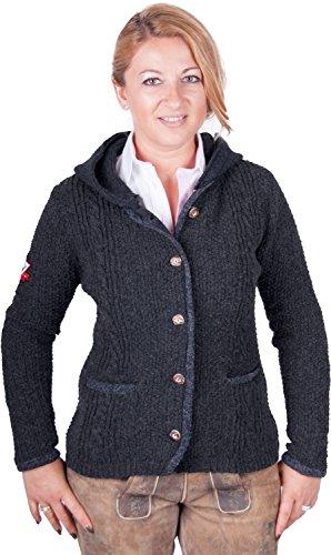 Almwerk Damen Strick Jacke Antonia mit abnehmbarer Kapuze in verschiedenen Farben, Größe Damen:XL - Größe 42;Farbe:Anthrazit/Grau