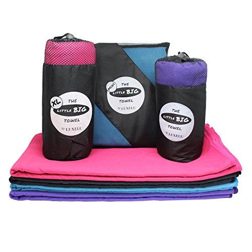 Little Big Towel - Serviette en Microfibre pour Voyage - Séchage Rapide - Camping Serviette/Serviette de Sport/Serviette de Bain/Serviette de Piscine - Gris, Bleu, Rose, Violet