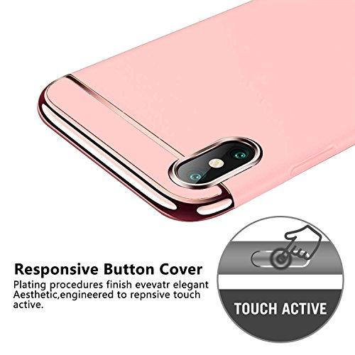 für IPhone X Hülle - KOBWA(3-IN-1 Serie) Ultra Thin Hard PC Anti-Scratch Schützende Case für Apple IPhone X - Apple Logo Sichtbar (Rot) Rose Gold