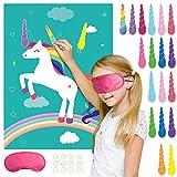 FEPITO Pin The Horn sur Le Jeu de fête d'anniversaire de Licorne avec 24 Cornes pour Les Fournitures de fête de Licorne, décorations de fête d'anniversaire pour Enfants...