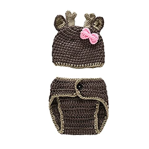 Zhuhaitf 0 to 4 Months Baby Photography Prop Newborn Baby Girls Boys Cotton Crochet Knit Costume Hat Pants Photography Props 3934#