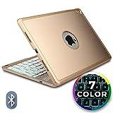 Apple iPad Air 2 / Pro 9.7 Hülle mit Tastatur, Cooper NOTEKEE F8S Hintergrundbeleuchtung LED Bluetooth kabellos wiederaufladbar Tastatur MacBook Klappgehäuse 7-farbige Hintergrundbeleuchtung Gold