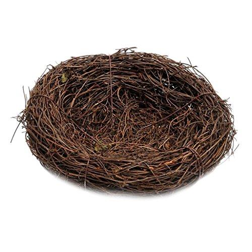 Baoblaze Rattan Vogelnest Geflechte Vine Nest Nesteinleger Feiertags Deko - Braun, 15cm
