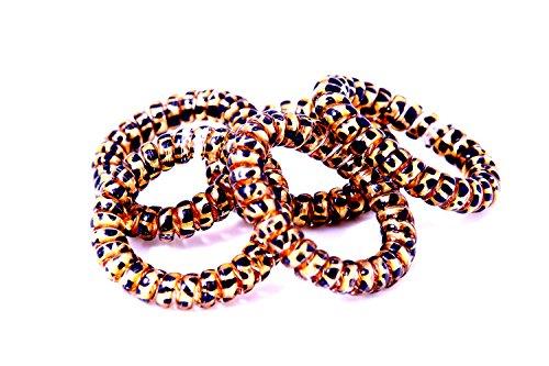 Capelli gomma nel colore nero-oro (spirale plastica), cavo telefonico, elastici, ornamenti per i capelli (set di 5) dal marchio mybeautyworld24