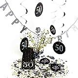 Geburtstagsdeko, Tisch-Deko, Set 50. Geburtstag | knuellermarkt.de | Girlande, Serviette, Dekoration, gedeckter Tisch, Konfetti