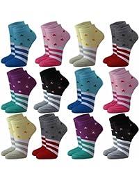 12 | 24 | 36 oder 48 Paar Damen Freizeit Sneakers Sterne, Streifen in verschiedene Farben - Qualität von Lavazio