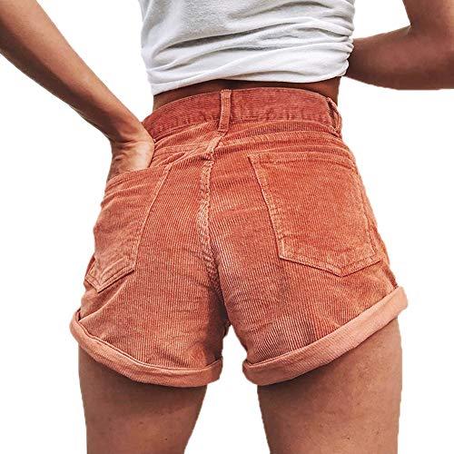 Hellomiko Damen-Cord-Shorts mit stylischen Taschen Boyfriend Street Night Club-Hotpants Street Cord