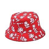 Butterme Unisex Pesca Cappello da Pescatore Coconut Palm Stampa con Visiera Parasole da Viaggio Outdoor Caps Rosso Red