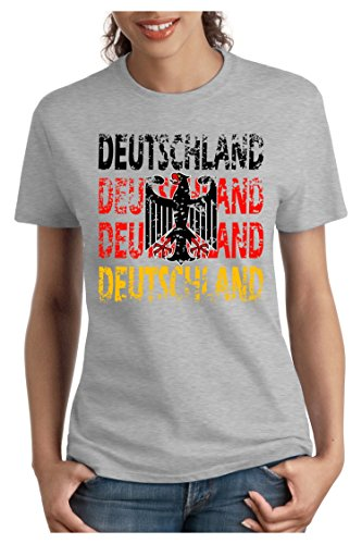 OM3 - DEUTSCHLAND - Damen T-Shirt tailliert - GERMANY EM 2016 FRANKREICH FRANCE FUSSBALL FANSHIRT SOCCER SPORT TRIKOT EUROPAMEISTER, S - XXL Grau Meliert